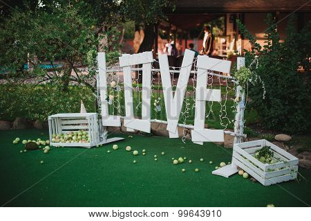 Big White Love Sign Made Of Wood Wedding Decor