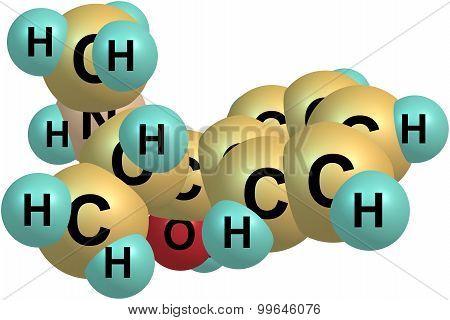Ephedrine molecule isolated on white
