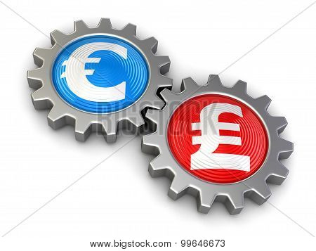 Gears with euro and Pound (clipping path included)