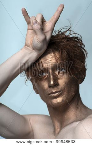 Bronzed Man With Cool Gesture
