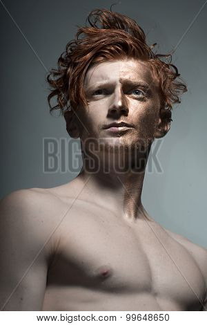 Man With Bronzy Face