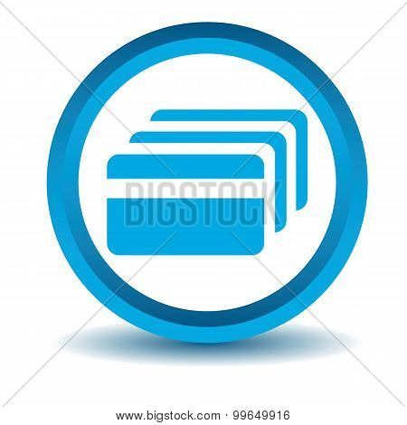 Credit card icon, blue, 3D