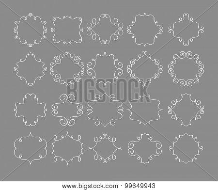 Set of simple and graceful monogram design templates, Elegant lineart logo design elements, vector illustration