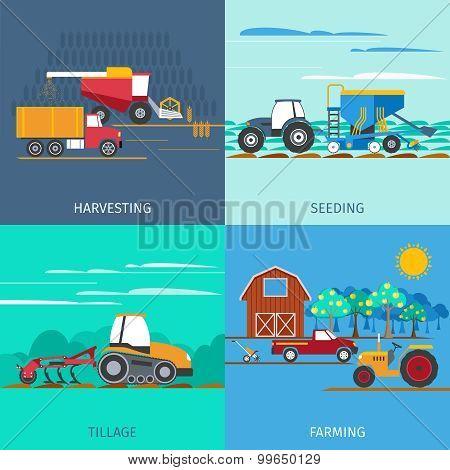 Farming Machines Icons Set