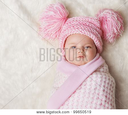 Baby Girl Wrapped Up In Newborn Blanket, New Born Kid Bundled Hat