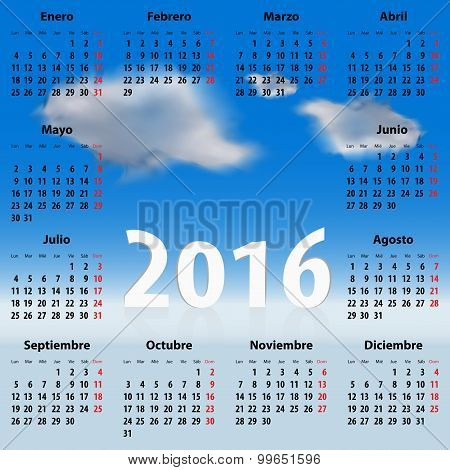 Calendar For 2016 Year In Spanish With Clouds