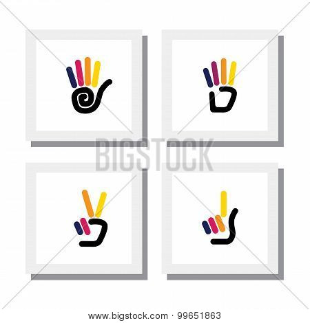 Set Of Logo Designs Of Colorful Hand Gestures Of Numbers - Vector Icons.