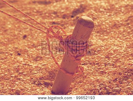 Wooden peg tent retro