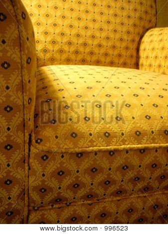 Yellow Patterned Overstuffed Armchair