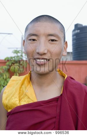Portrait Of A Monk Smiling