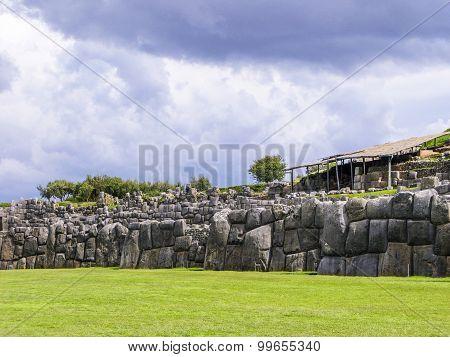 Sacsayhuaman, Incas Ruins In The Peruvian Andes At Cuzco