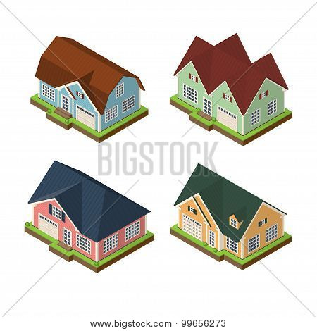 Isometric 3d private house icons set. Real estate vector illustrations isolated on white backround poster