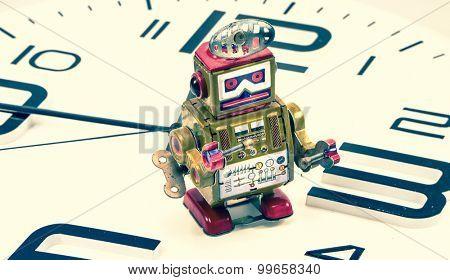 robot on a clock concept