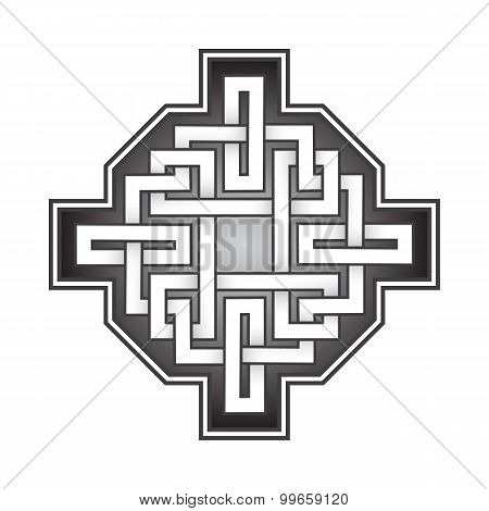 Cruciform logo template in Celtic knots style