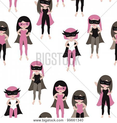 Seamless superhero girls cute kids friends illustration with hero mask and cape kids background pattern in vector
