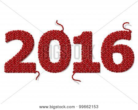 New Year 2016 Of Knitted Fabric Isolated On White Background