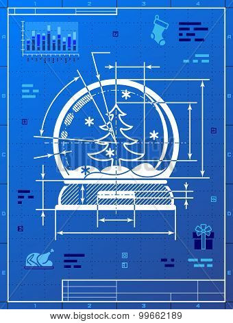 Christmas Snow Globe Symbol As Blueprint Drawing