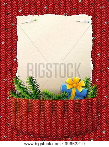 Paper For Christmas List In Knitted Pocket