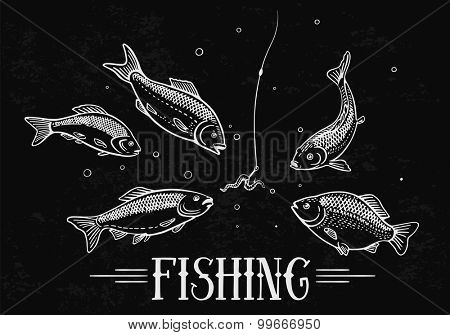 Hunger fish attack to the a hook (bait). Illustration about fishing.