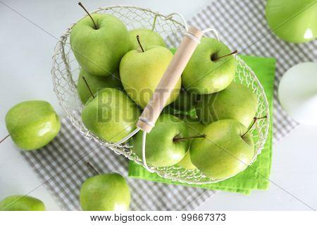 Green apples on windowsill, closeup poster