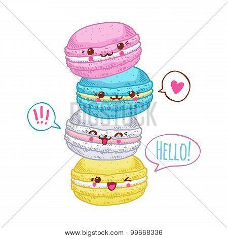Group of four cute kawaii macarons.