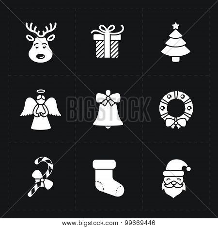 Christmas silhouette icons collection - vector illustration on w