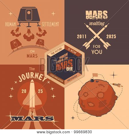 Mars Colonization Program Flat Design Labels