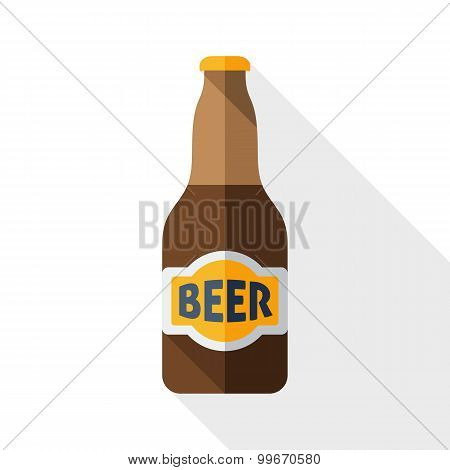 Beer Bottle Icon With Long Shadow On White