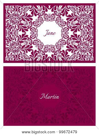 Festive Wedding Name Card With Floral Ornament