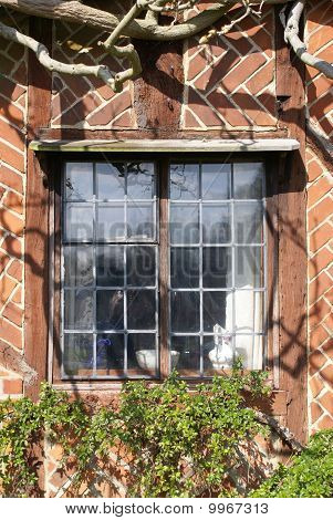 Window of Tudor-style house