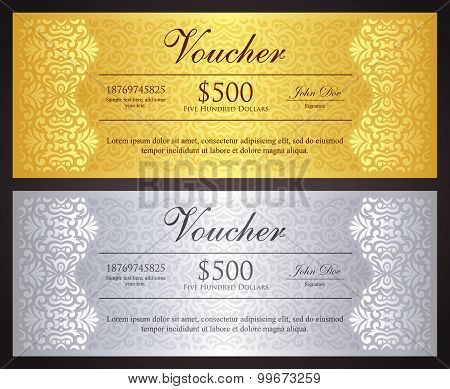 Luxury Golden And Silver Gift Certificate In Vintage Style