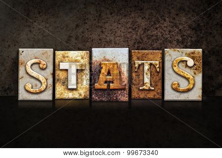 Stats Letterpress Concept On Dark Background