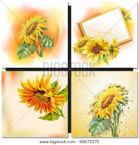 Oil painting Sunflowers Greeting Card.