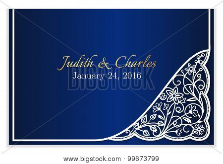 Blue Wedding Announcement With White Floral Lace