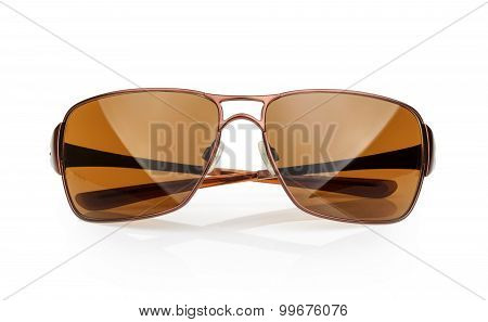 Sunglasses With Reflection Isolated Against A White Background