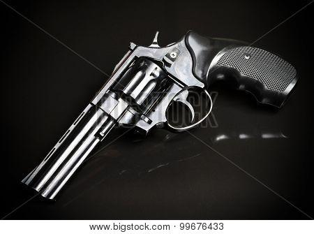 Revolver Gun On Black Background