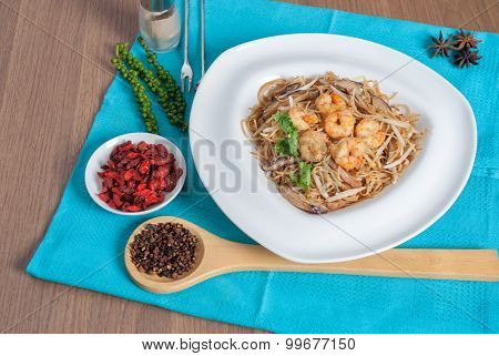 Fried Hong Kong Noodles Topped With Shrimp Menu