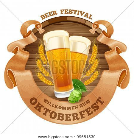 Retro styled emblem with glasses of beer, wooden barrel, twisted vintage ribbon and the text Beer festival Oktoberfest. Isolated on white background. Vector illustration.