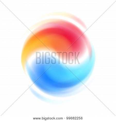 Red and blue opposites cooperation abstract symbol.
