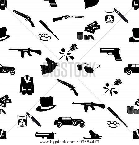 mafia criminal black symbols and icons seamless pattern eps10 poster