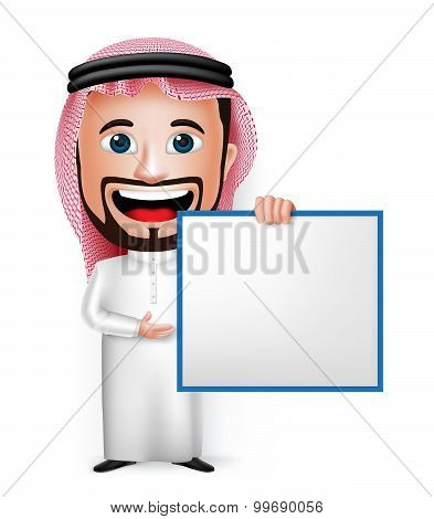 3D Realistic Saudi Arab Man Cartoon Character Holding Blank White Board