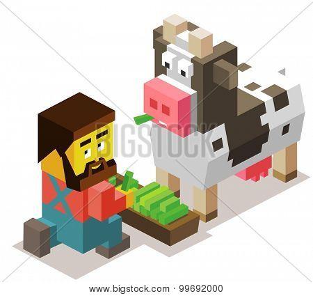 Breeder and livestock isometric. isometric art