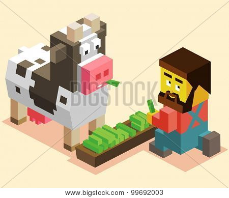 Cattleman and cow. isometric art