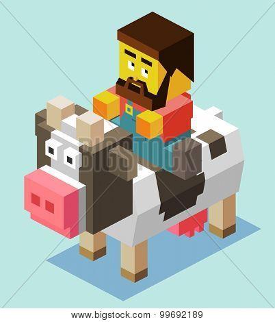 Farmer riding a Cow. isometric art