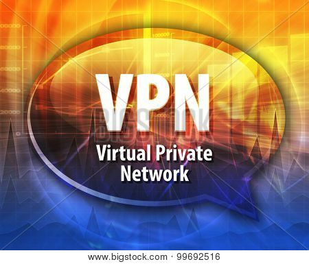 Speech bubble illustration of information technology acronym abbreviation term definition VPN Virtual Private Network
