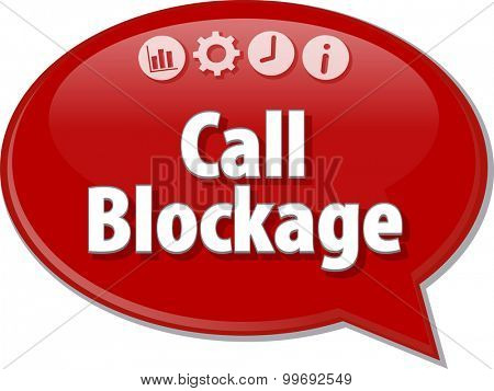 Speech bubble dialog illustration of business term saying Call Blockage