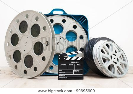 Movie Clapper Board And 35 Mm Cinema Reels
