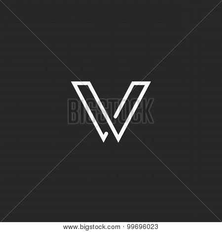 V Letter Logo, Minimalistic Thin Line Mockup Monogram, Business Card Elegant Black And White Templat