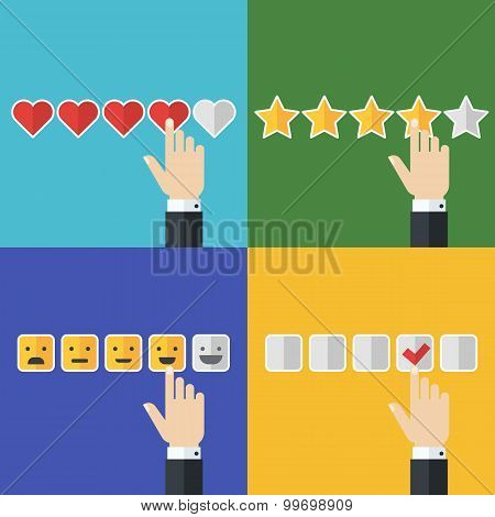 Vector Set Of Flat Business Icons. Concept For Customer Service, Support, Review, Feedback, Like. Me