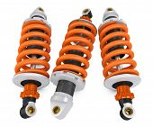 Three shock absorber on a white background poster